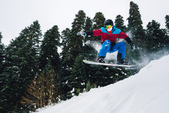 Snowboarder is jumping very high and freeriding from hill in the mountain forest. Snowboarder with special equipment is jumping very high and freeriding from Stock Images