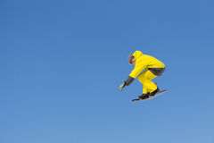 Snowboarder jumps in Snow Park Stock Image