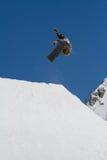 Snowboarder jumps in Snow Park,  ski resort Stock Image