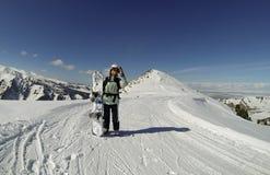 Snowboarder in Karakol, Kyrgyzstan Stock Image