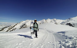 Snowboarder in Karakol Stock Photo