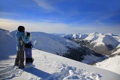 Snowboarder in Kasprowy Wierch in Zakopane stock photography