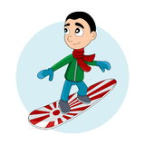 Snowboarder kid cartoon Royalty Free Stock Photography