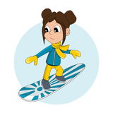 Snowboarder kid cartoon Royalty Free Stock Photo