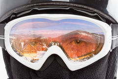 Snowboarder looking at mountains Stock Image