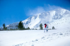 Snowboarder on the lope Royalty Free Stock Image