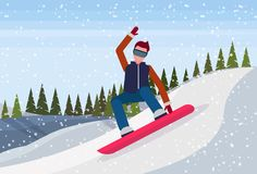 Snowboarder man sliding down snowy mountain fir tree forest landscape background sportsman snowboarding winter vacation. Flat horizontal vector illustration stock illustration