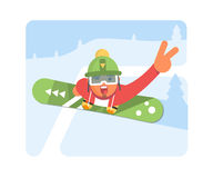 Snowboarder Man In winter ski Sportswear With Snowboard Royalty Free Stock Image