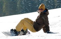 Snowboarder-meisje Royalty-vrije Stock Afbeeldingen