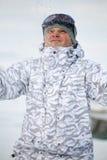 Snowboarder met sneeuw Royalty-vrije Stock Foto