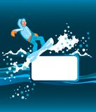 Snowboarder mit Feld Stockfotos