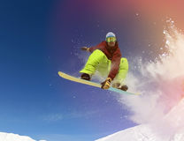 Snowboarder in mountain Royalty Free Stock Photos