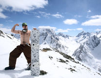 Snowboarder in mountains of the Caucasus Royalty Free Stock Image
