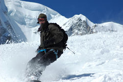 Snowboarder on Mt Blanc 3 Royalty Free Stock Photo