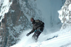 Snowboarder on Mt Blanc Stock Photo