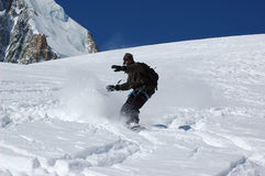 Snowboarder on Mt Blanc Stock Images