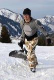 Snowboarder na defesa imagens de stock