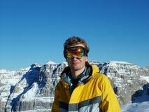 Snowboarder nas montanhas Imagens de Stock Royalty Free