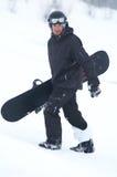 Snowboarder negro Imagen de archivo libre de regalías