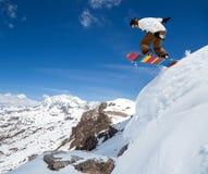 Snowboarder nel cielo Fotografie Stock Libere da Diritti