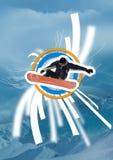 Snowboarder nell'azione Fotografia Stock