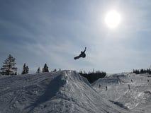 Snowboarder no canto fotos de stock