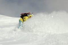Snowboarder no monte imagem de stock