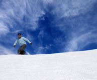Snowboarder on off piste slope Royalty Free Stock Images