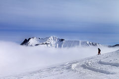 Snowboarder on off-piste slope with newly fallen snow Stock Images