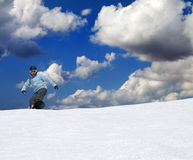 Snowboarder on off-piste slope Royalty Free Stock Images