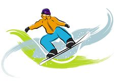 Snowboarder olympic games. A vector illustration of a snowboarder at the olympic games Stock Photography