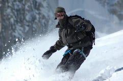 Snowboarder op MT Blanc Stock Foto's