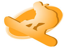 Snowboarder - orange logo stock photo