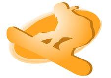 Snowboarder - orange Zeichen Stockfoto