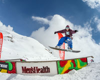 Snowboarder in the park Royalty Free Stock Photo