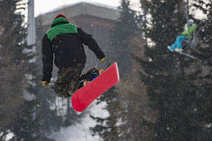 Snowboarder. A piture of a snowboarder in the italian alps Royalty Free Stock Photos