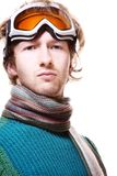 Snowboarder portrait isolated over white Royalty Free Stock Photography