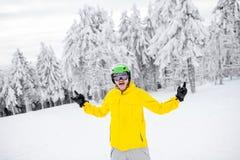 Snowboarder portret outdoors Obraz Royalty Free