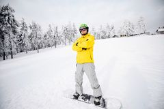 Snowboarder portret outdoors Zdjęcie Royalty Free