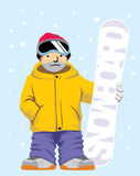 Snowboarder pose with board Royalty Free Stock Photography