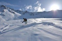Snowboarder in Powder Snow Royalty Free Stock Photos