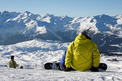 Snowboarder pronto para ir Imagem de Stock Royalty Free