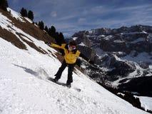 Snowboarder que se divierte Foto de archivo libre de regalías