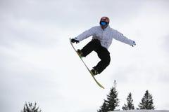 Snowboarder que vuela sobre los abetos Imagen de archivo libre de regalías