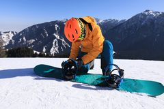 Snowboarder ready for snowboarding. One young woman snowboarder ready for snowboarding on winter mountain top Stock Photos