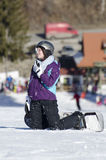 Snowboarder resting royalty free stock photography