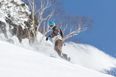 Snowboarder rides steep mountains. Kamchatka, Far East, Russia. KAMCHATKA, RUSSIA - MARCH 9, 2014: Snowboarder rides steep mountains. Competitions freeride Stock Photography