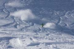 Snowboarder riding in powder Royalty Free Stock Photography