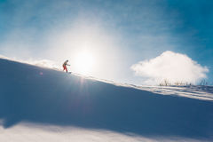 Snowboarder is riding from snow hill Royalty Free Stock Photos