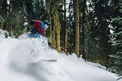 Snowboarder is riding very high and freeriding from hill in the mountain forest. Snowboarder with special equipment is riding very fast and freeriding from hill Stock Image